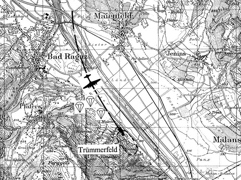 Die Karte zeigt die Absturzstelle bei Bad Ragaz. (224_2)