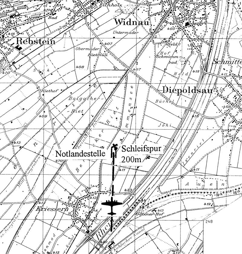 Die Notlandestelle bei Kriessern. (238_1)