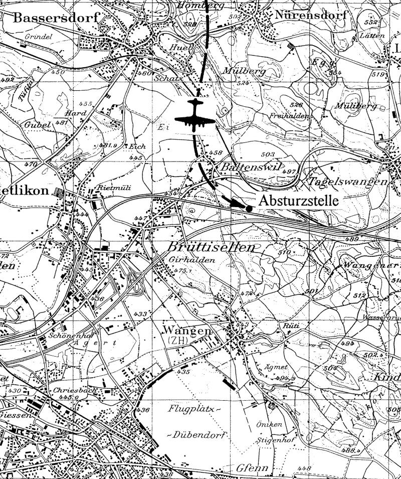 Die Absturzstelle liegt nahe der heutigen Autobahn Zürich-St. Gallen. (256_1)