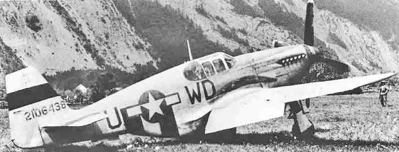 Die Mustang nach der geglückten Notlandung in Ems. (371_1)