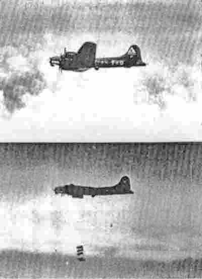 Ein seltenes Dokument: Bei der vierten Mission von Jack La Mont löste sich nur ein teil der Bomben. Das Flugzeug musste aus der Formation ausscheren, worauf schliesslich nach einigen Minuten auch die restlichen Bomben abgeworfen werden konnten. Die beiden Aufnahmen wurden aus einem begleitenden Bomber aufgenommen. (287_1)