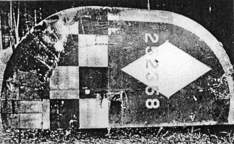 Nach der Explosion der Maschine landeten lediglich zwei Mann und das Seitensteuer auf Schweizer Gebiet. Das Seitensteuer bei Hemishofen. (166_1)