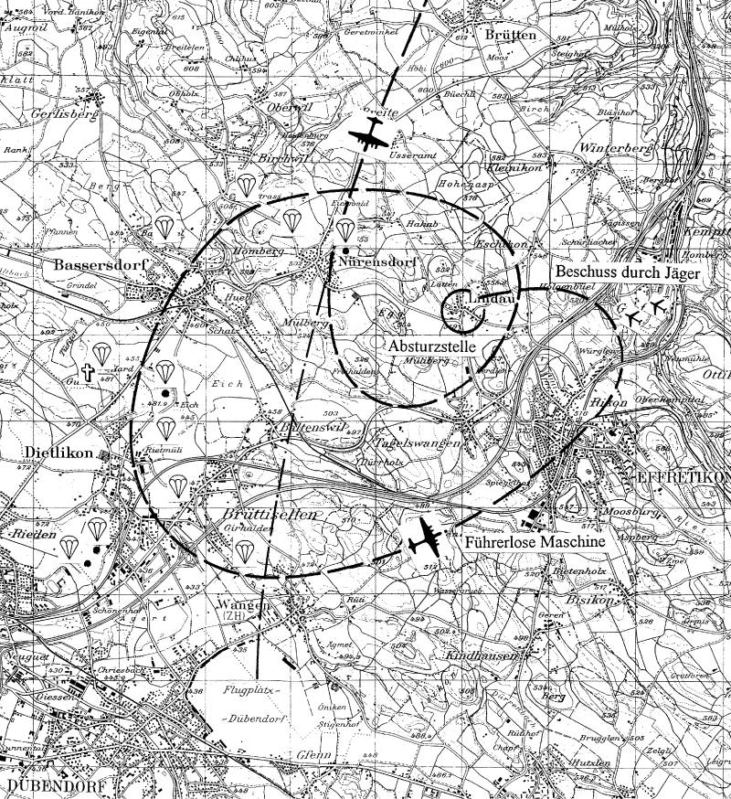 Der Flugverlauf der B-24 vor dem Absturz. (169_1)