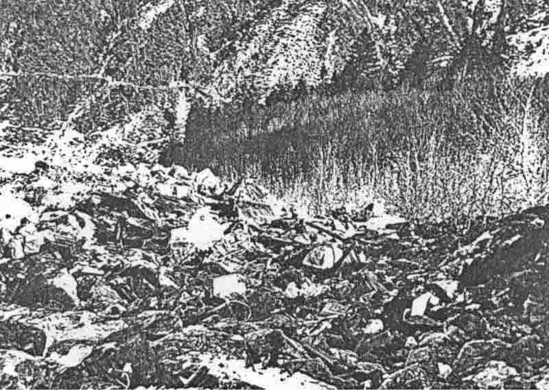 Die B-25 stürzte südwestlich des Lago d'Orbello im steilen Gelände ab. (399_1)