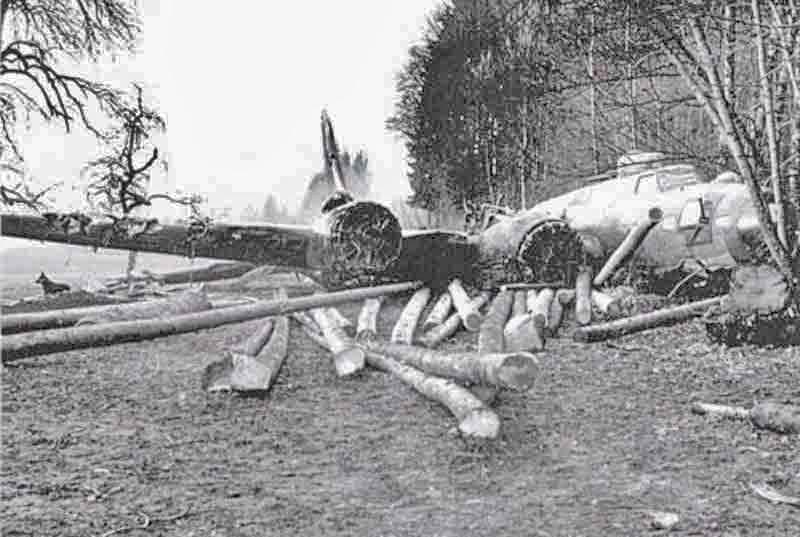 Geholzt war schon vor der Landung. Propeller und Motorverkleidungen wurden abgerissen. (300_1)