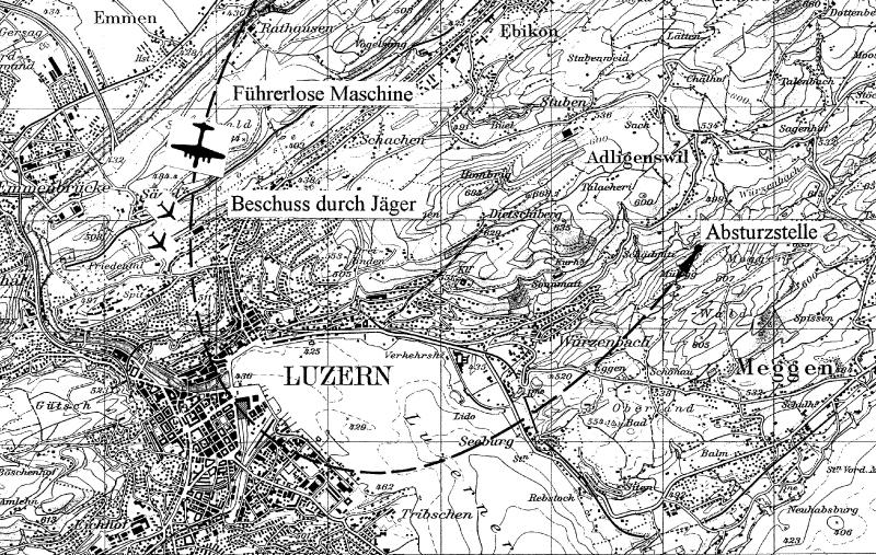 Die ungefähre Flugroute der führerlosen B-24. (192_2)