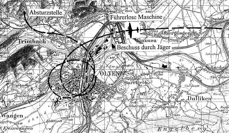 Die Karte zeigt die Absturzstelle bei Trimbach. (305_1)