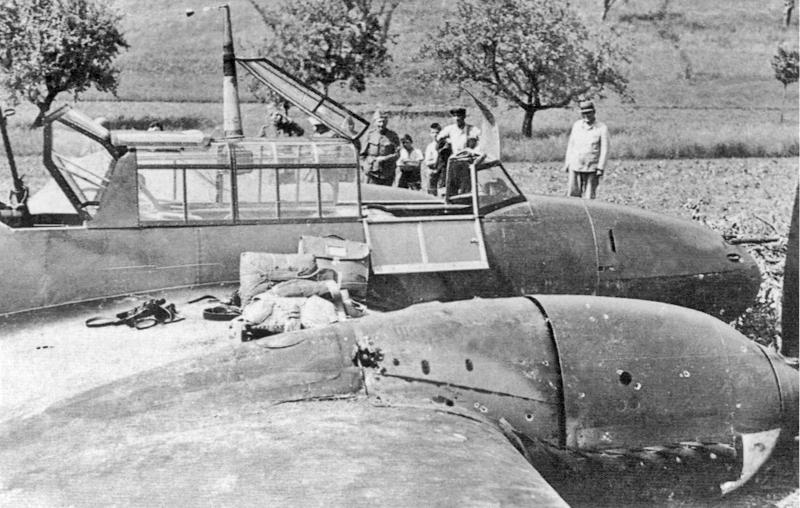 Schaulustige bestaunen die Bf-110, die nach der Bauchlandung nur leicht beschädigt war. (21-1)