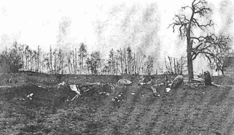 Absturzstelle der Ju 188 bei Wienacht AR. Die Maschine wurde dabei restlos zerstört. (357_3)