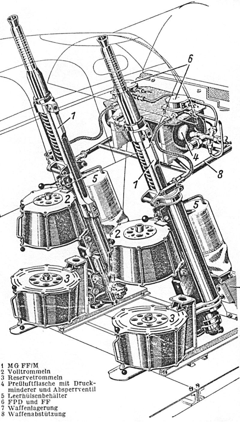 """Einbau des Nachrüstsatzes Nr.8 """"Schräge Musik"""" in den hinteren Teil der Kabine der Bf-110. (26_1)"""
