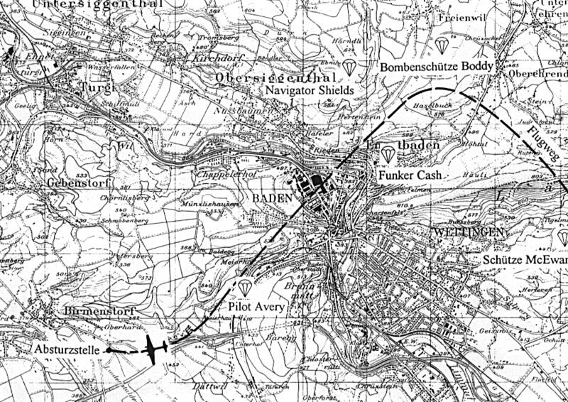 Landungsstellen der Besatzung und Absturzstelle im Grund. (86_1)