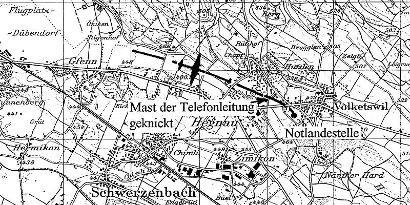 Der Landeplatz der PZ440 bei Volketswil. (64_2)