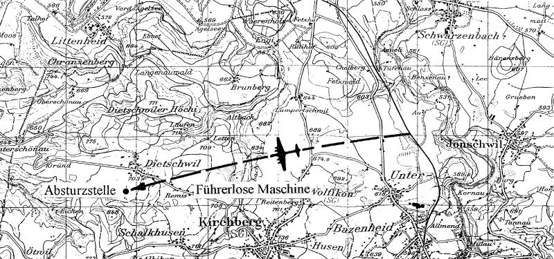 Südwestlich von Dietschwil landete die Maschine auf dem Bauch. (135_3)