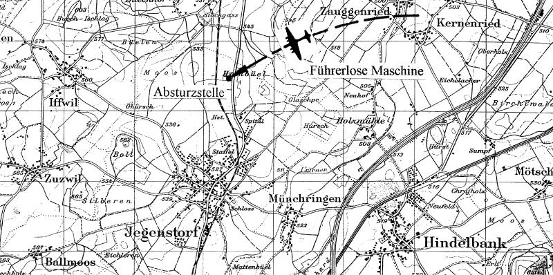 Die Absturzstelle nördlich des Dorfes Jegenstorf. (147_1)