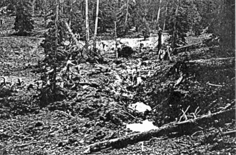 Eine Schneise im Wald, geknickte Bäume und unkenntliche Trümmerteile sind die einzigen Zeugen des Absturzes. (161_1)