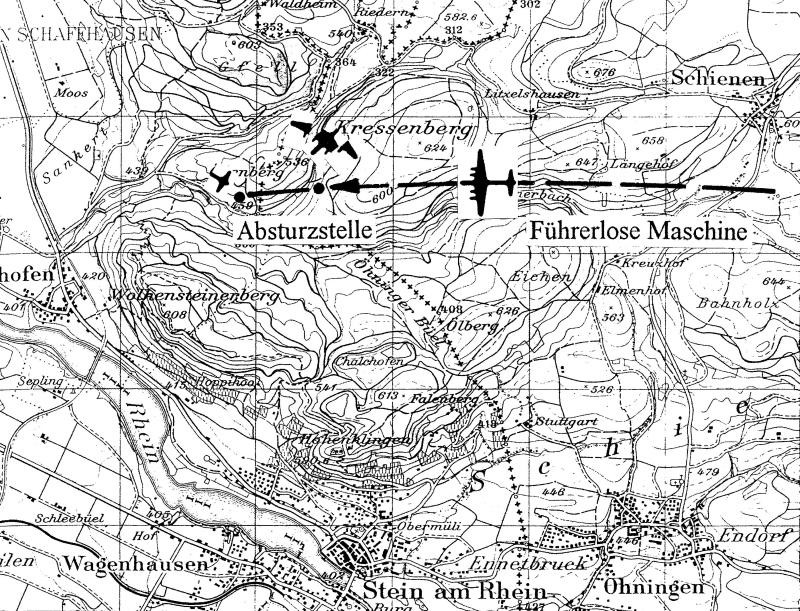 Der grösste Teil des Bombers stürzte auf deutschem Gebiet ab. (166_2)