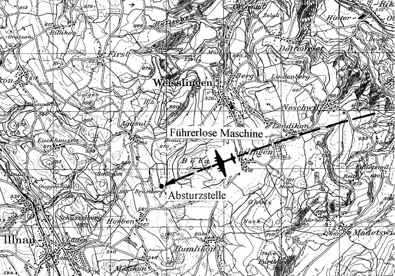 Die Absturzstelle zwischen Weisslingen und Illnau. (167_1)