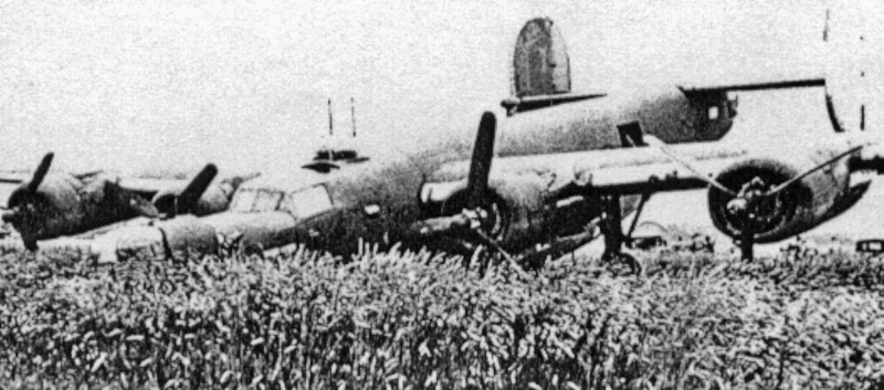 Ein Bug im Kornfeld. Beide äusseren Propeller sind auf Segelstellung. (171_2)