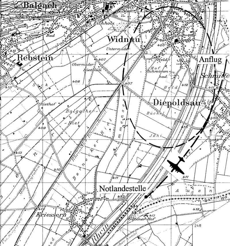Auf der Karte ist deutlich zu sehen, wie knapp die Maschine hinter der Schweizer Grenze notgelandet ist. (301_1)