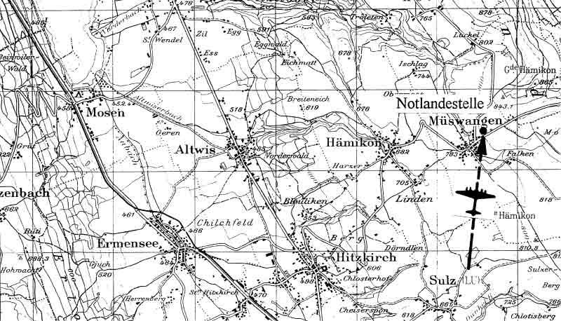Die Notlandestelle nordöstlich von Hitzkirch. (302_2)