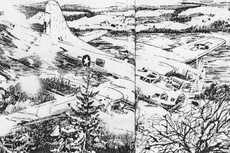 Die Zeichnung von Ludwig Suter zeigt die Notlandung bei Müswangen. (303_2)