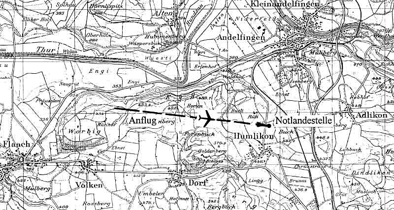 Die Notlandestelle der C.R.42 in der Nähe von Andelfingen. (323_1)