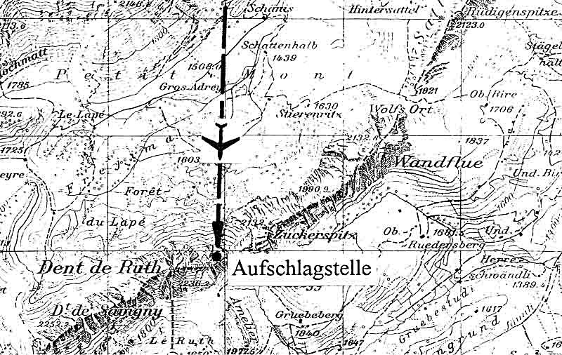 Zwischen Wandflue und Dent de Ruth stürzte die führerlose Maschine ab. (333_1)