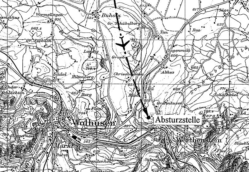 Die Absturzstelle bei Werthenstein. (53_3)