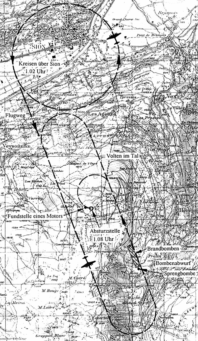 Die mutmassliche Flugroute der Lancaster. (99_1)