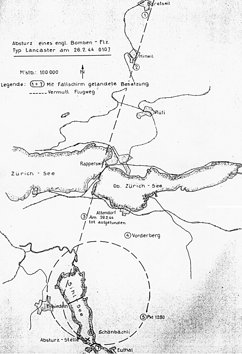 Die Flugroute der Lancaster bis zum Absturz auf den Sihlsee. (103_1)