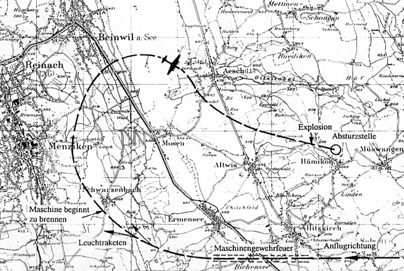 Auf der Karte ist die Flugroute der Lancaster zu sehen. (110_1)